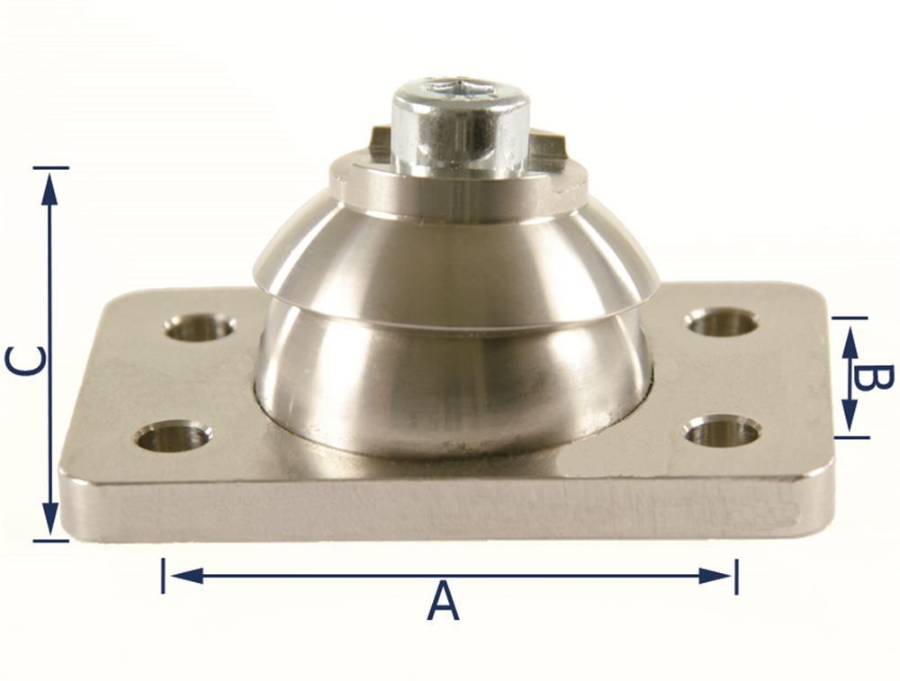 Ball and socket joint for adjustable pads
