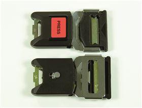 2-Punkt Beckengurt mit Metallschloss mit Verriegelung und Polster, einseitig verstellbar