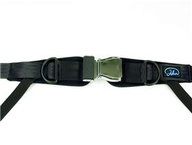 4-point pelvis belt with aircraft click fastener, adjustable on both sides