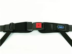 4-point pelvis belt with metal buckle with, pressure point fastener, adjustable on one side