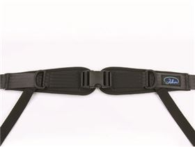 4-point pelvis belt with plastic buckle and pad, adjustable on both sides