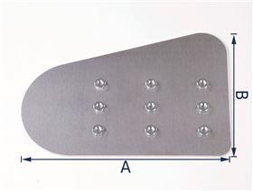 Blech für Thoraxpelotte (Ausführung: Rechts/Links) mit Einschlagmuttern M6