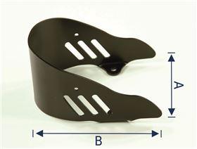 Fersenschale gebogen mit Gurt-Schlitzen, Aluminium gepulvert, Fb. Schwarz RAL 9005