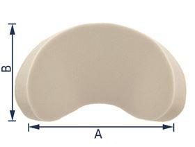 Kopfstütze Muschelform mit Gelenkplatte und Gewindebuchse M8