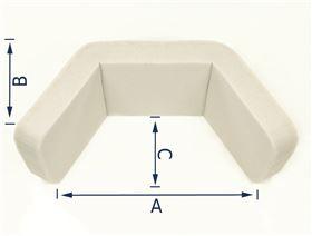 Kopfstütze U-Form mit Gelenkplatte u. Gewindebuchse M8