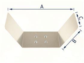 Kopfstützenblech U-Form  für Kugelaufnahme und Gelenkplatte 4-Loch