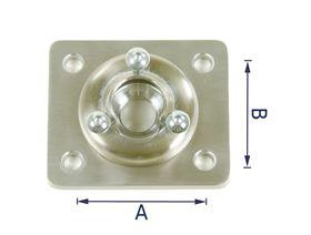 Kugelgelenkaufnahme für Kopfstützen mit Druckplatte