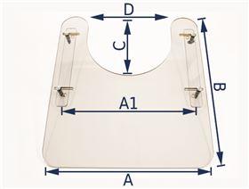 Makrolon-Therapietisch 8 mm, zum Aufschieben auf Armlehnen