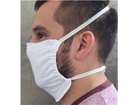 Mund- und Nasenmaske, m.Gummiband u.Nasenbügel,waschbar bis 95°, 97%Bw/3%Lycra