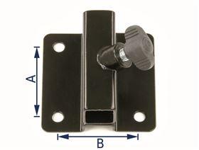 Universalhalter, gekröpft (10 mm), 4-Loch mit Flügelschraube