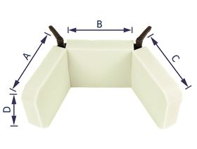 Verstellbare Kopfstütze bis 90° mit Gelenkplatte und Gewindebuchse M8