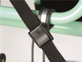 pipe clip with clasp for fastening belts on wheelchair
