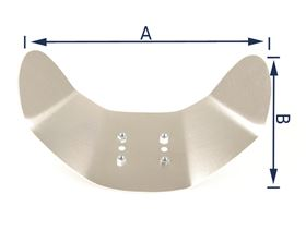 shell-shaped headrest plate 2.5 mm aluminium with drive-in nuts for 4-hole joint plate