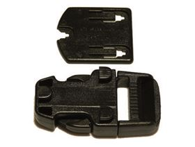 side release plastic buckle to rivet on