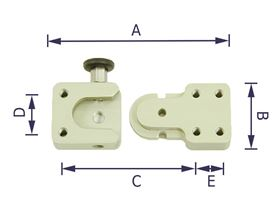 """thoracic pad bracket """"TP40"""", sliding in, with mini-tension-snapper"""