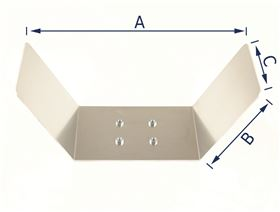 u-shaped headrest plate 2.5 mm aluminium, with drive-in nuts for 4-hole joint plate