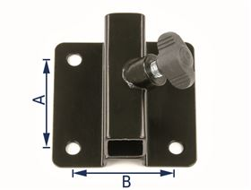 universal bracket, cranked (10 mm), 4-hole with wing bolt (size 1 for armrest support, size 2 for